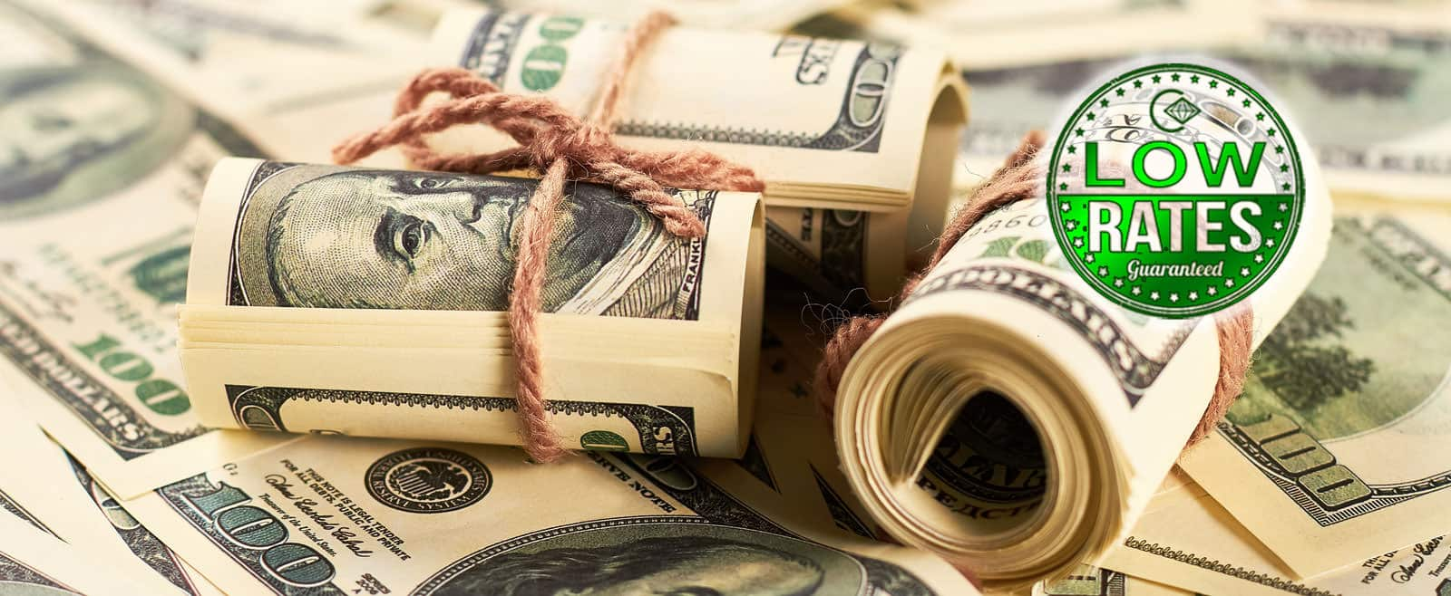 cash bundled for a pawn shop loan