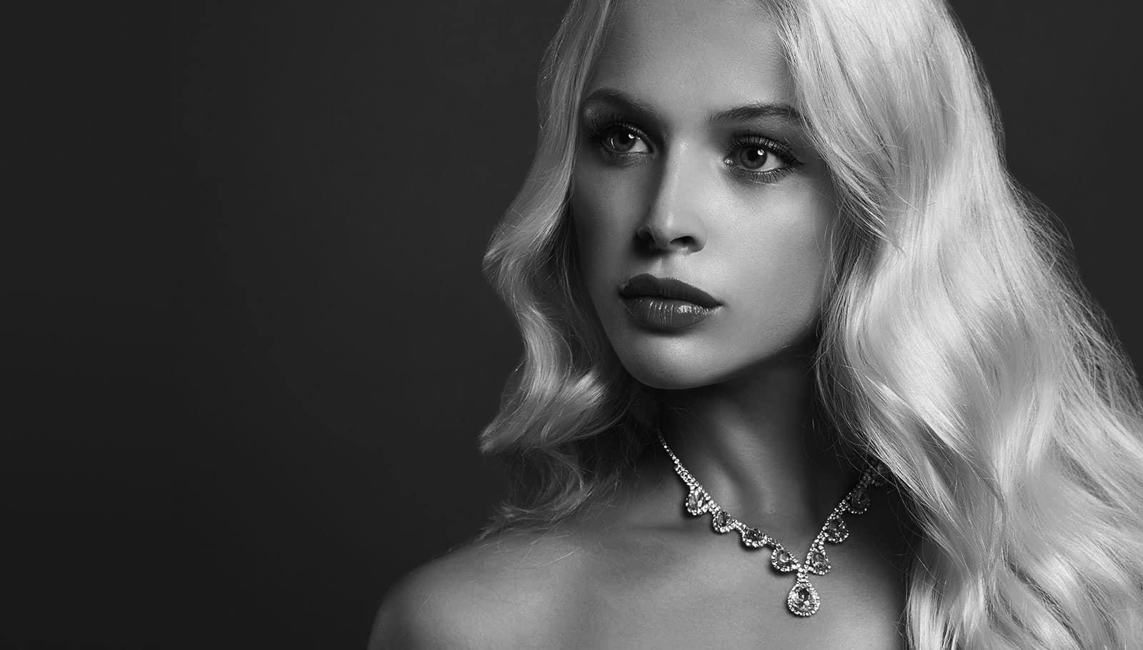 Woman with diamond jewelry