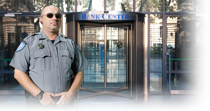 Security guard protecting bank money